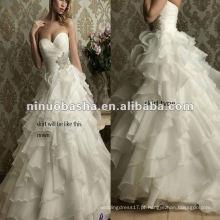 Organza e cetim como forro de vestidos de vestido de noiva de nível não regulares