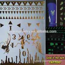 OEM Wholesale luminous tattoo fashion brands glow in the dark tattoo temporary tattoos Sticker for adults GLIS007