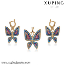 64258 wholesale turkish jewelry accessories multicolor butterfly gold plated jewelry set