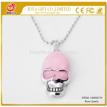 Wholesale Natural Rose Quart Gemstone Skull Pendant Necklace 14SN0170 with 60CM Silver Chain Semi Precious Stone Crystal Jewelry