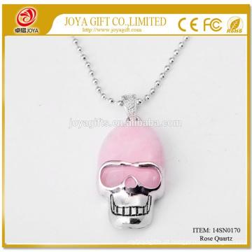 Venda Por Atacado Natural Rose Quart Gemstone Crânio Pingente Colar 14SN0170 com 60CM Silver Chain Semi Preciosas Pedras Cristal Jóias
