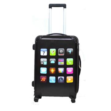 PC trolley luggage with interesting icon printing