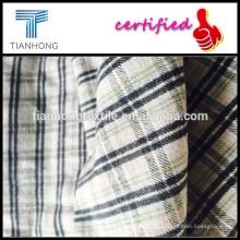 hilado teñido de tela de franela lycra blanco tejidos de camisa de lana de tela gruesa de franela de cuadros verde