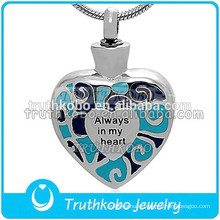 Always In My Heart Stainless Steel Urn High Quality Keepsake Blue Enamel Pet Ashes Pendant Silver Cremation Necklace Wholesale