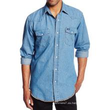 Camisas básicas de vestir para hombres Camisas de corte slim ocasionales de la moda denim