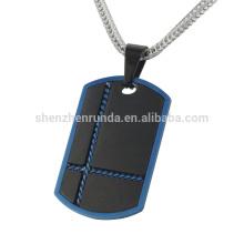 Barato 316l joyería de acero inoxidable iP azul y negro perro colgante para los hombres