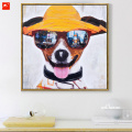 Puppy Canvas Print Sunglasses Dog Oil Painting