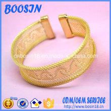 Conception de bracelet gravée creuse personnalisée avec placage or
