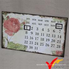 Luckywind Metal Antique and Shabby Wall Art Calendar
