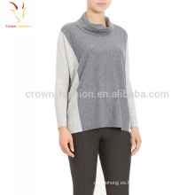 Suéter del jersey del cachemira del punto llano del cuello del chal de las mujeres
