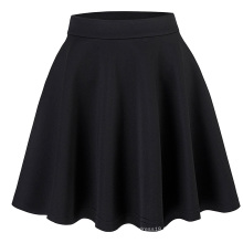 Kate Kasin Stock Womens Basic Black Stretchy Flared Skirt A-Line Skirt KK000665-1