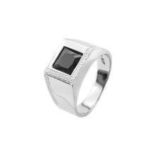 Wholesale Stainless Steel Ring Inlay Square Black CZ Ring China Manufacture 2015