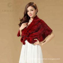 Comfortable raccoon fur knitted shawl
