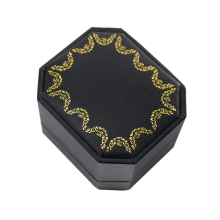 Luxury Gold Stamping Black Paper Gift Ring Box