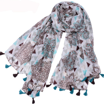 Hot selling national style tassels scarf summer bohemia printed flowers scarf cotton voile scarf shawl