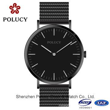 Оптовые Женеве кварца мужчины часы мода золотой сетки пояса наручные часы