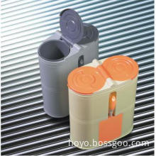 Toilet cleaning set with waste bin