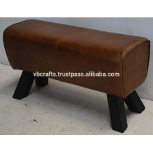 Genuine Leather Ottoman Dark Wooden Leg
