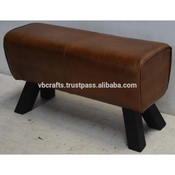 Genuine Leather Ottoman Dark Wooden Leg
