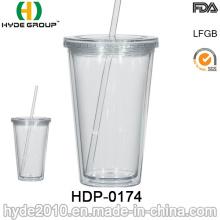 2017 popular 16oz BPA Free dupla parede copo plástico (HDP-0174)