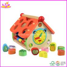 Jouet éducatif en bois de bébé, avec la forme de maison (W12D005)