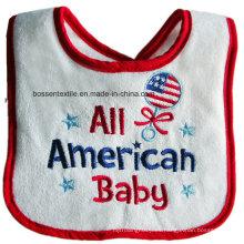 Babero sin mangas del desgaste del bebé del bordado del blanco del algodón de encargo promocional