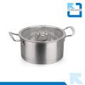 304 Edelstahl rechtwinkliger Suppe Topf mit zwei Griff