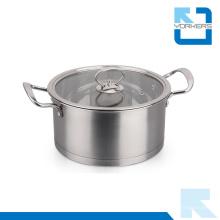 304 Olla de sopa de ángulo recto de acero inoxidable con dos mangos