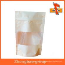 El papel de arroz de calidad alimentaria se levanta bolsa / bolsa de papel de seda con ventana y cremallera