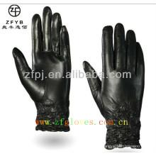 Moda Mulheres Black Tight Cordão luvas de couro