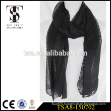 low price 100 polyester scarve black wrinkle infold long voile scarf