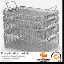 Eco-friendly stackable sterile containers mesh washing trays with drop handles stainless steel sterilization baskets for clinic