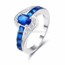 En gros 2017 Collection D'été Pur 925 Sterling Argent Anneaux Bleu Pierre Saphir Doigt Bague Femmes Fine Jewelry