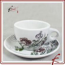 Novo design 250ml copo de café de cerâmica com pires