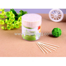 Amico Home Oval Lid Clear Plastic Holder Box Bamboo Toothpicks 4 Bottles