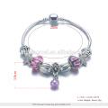 Pulsera emoji 2017 de las gotas de plata del OEM con el corazón pendiente para las mujeres, joyería del accesorio de la pulsera del encanto de DIY