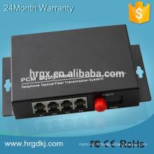 Hongrui gros commutateur de téléphone à 4 canaux mux, voix Mux PCM TDM sur IP convertisseur, téléphone mux-fibre otpics en ligne
