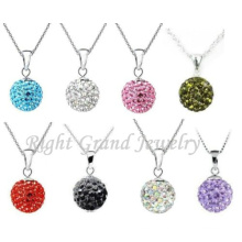 6mm-25mm Rhinestone Clay Paved Shamballa Bead Pendant Charms