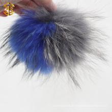 Großhandel Royal Blue und Grau Multi Farbe Genuine Waschbär Pelz Pom Pom