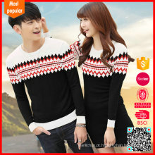 Hot selling jumpers jacquard pattern couple knit sweater