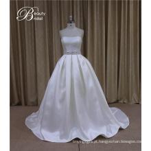 Aline de cetim vestido de casamento + querida