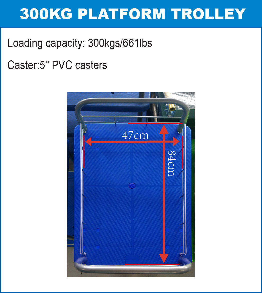300kgs triple layers Platform Hand Trolley using space