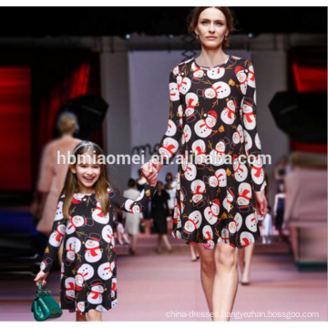 Fashion Mommy Me Snowman Printed Mom Girl Dress Family Look Matching Clothes Christmas Mother Daughter Dresses