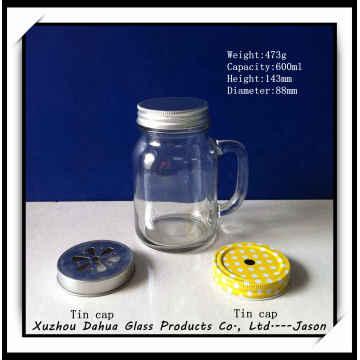 600ml High Quality Glass Jar with Handle