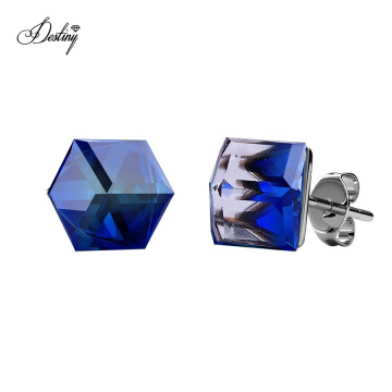 Hypoallergenic 18K Gold Plated Brass Jewelry Classic Cube Blue Crystal Stud Earrings for Women