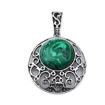 Malachite 20MM Cabochon Alloy Gemstone Pendant