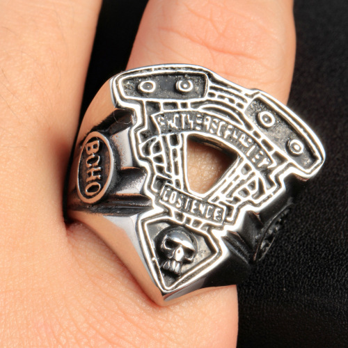Halloween exquisite design PVD plating skull rings