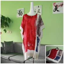 2016 printing bat sleeve leisure Viscose bat-like blouses