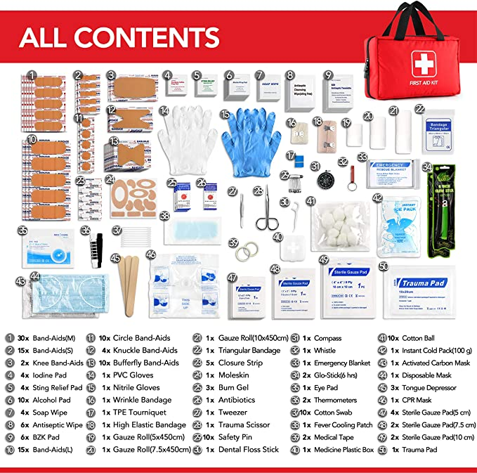 First Aid Kit with Hospital Grade Medical Supplies