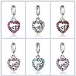 Lovely Green Beads Fit Original Bracelet Necklace Big Hole DIY Charms Women Enamel Heart Shape Pendant Girl Gift-in Beads